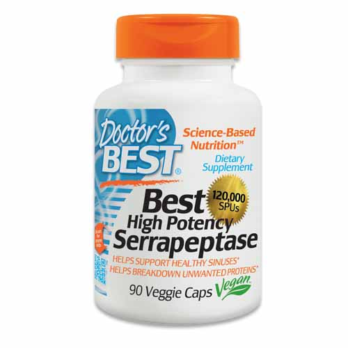 Doctor's Best Serrapeptáza High Potency 120 000 SPU x 90 kapslí